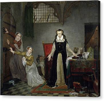 Ladies In Waiting Canvas Print - Mary Stuart 1542-87 At The Moment Of Leaving For Her Execution, 8th February 1587 Oil On Canvas by Philipe Jacques van Bree