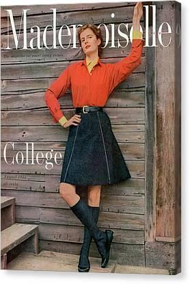 Full Skirt Canvas Print - Mary Thom Wearing Beacon Hill Bermuda by Herman Landshoff
