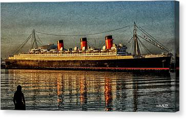 Mary Watches The Queenmary Canvas Print by Bob Winberry