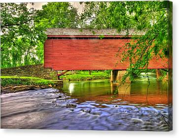 Maryland Country Roads - Peaceful Crossing - Loys Station Covered Bridge 3a Spring Canvas Print