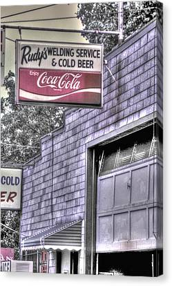 Maryland Country Roads - Some Things Just Go Together No. 1 - Rudys Welding And Cold Beer Canvas Print by Michael Mazaika