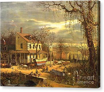 Cattle Dog Canvas Print - Maryland Crossroads Inn 1872 by Padre Art