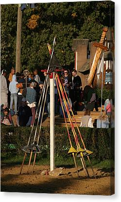 Fighting Canvas Print - Maryland Renaissance Festival - Jousting And Sword Fighting - 12123 by DC Photographer