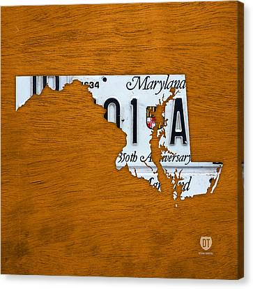 Maryland State License Plate Map Canvas Print by Design Turnpike