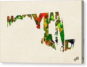 Maryland Typographic Watercolor Map Canvas Print by Ayse Deniz
