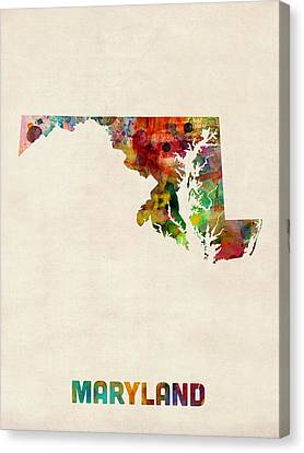 Maryland Watercolor Map Canvas Print by Michael Tompsett