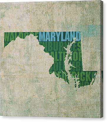 Maryland Word Art State Map On Canvas Canvas Print