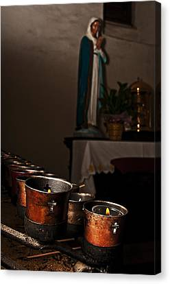 Canvas Print featuring the photograph Mary's Candles by Andy Crawford