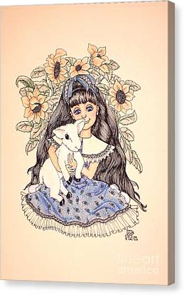 Mary's Lamb Canvas Print by Lenora Brown