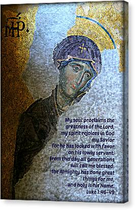 Icon Byzantine Canvas Print - Mary's Magnificat by Stephen Stookey