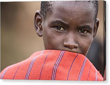 Canvas Print featuring the photograph Masai #1 by Antonio Jorge Nunes