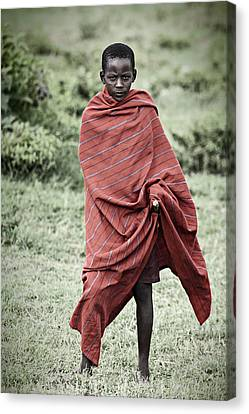 Canvas Print featuring the photograph Masai #4 by Antonio Jorge Nunes