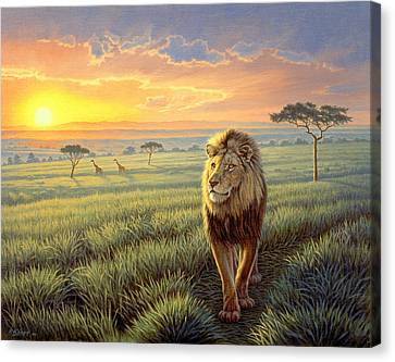 Masai Mara Sunset Canvas Print by Paul Krapf