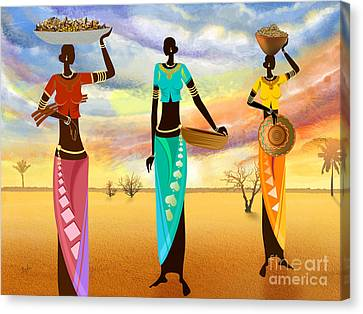 African Traditional Dances Canvas Print - Masai Women Quest For Grains by Peter Awax
