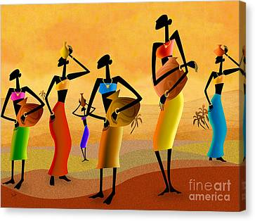 African Traditional Dances Canvas Print - Masai Women Quest For Water by Peter Awax