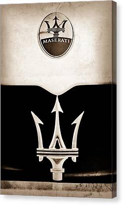 Maserati 2005 Mc12 Grille Emblem Canvas Print by Jill Reger