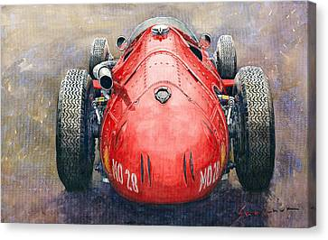 Maserati 250f Back View Canvas Print by Yuriy Shevchuk