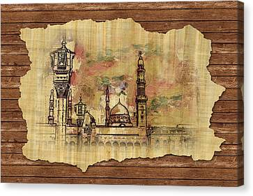 Jordan Canvas Print - Masjid E Nabwi Sketch by Catf