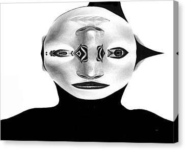 Canvas Print featuring the painting Mask Black And White by Rafael Salazar