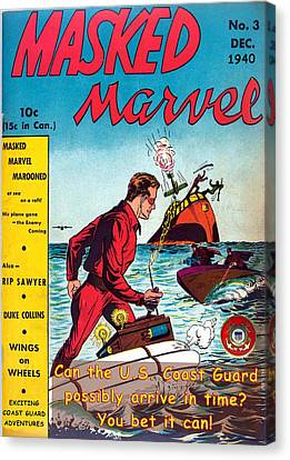 Masked Marvel And The Coast Guard Canvas Print by Tom DiFrancesca