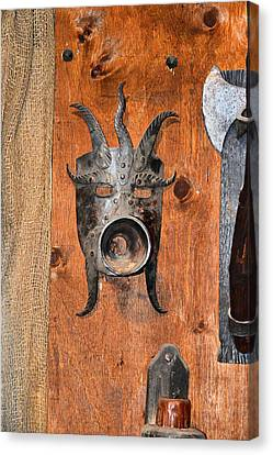 Masks Medieval Inquisition. Next To Charles Bridge. Prague. Czech   Republic. Canvas Print by Andy Za