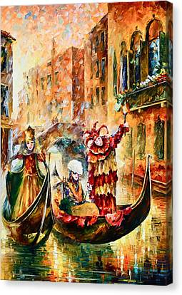 Masks Of Venice Canvas Print by Leonid Afremov