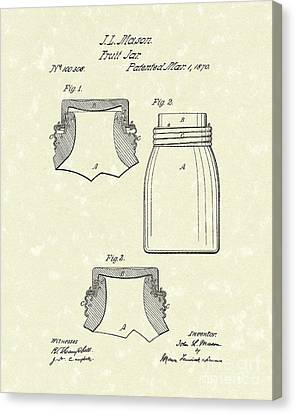 Mason Fruit Jar 1870 Patent Art Canvas Print by Prior Art Design