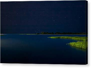 Masonboro Sound At Night Canvas Print by Phil Mancuso
