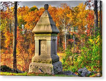 Massachusetts At Gettysburg - 22nd Mass. Volunteer Infantry - In The Rose Woods Canvas Print by Michael Mazaika