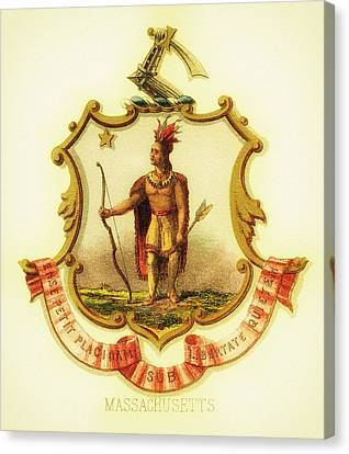 Massachusetts Coat Of Arms - 1876 Canvas Print by Mountain Dreams
