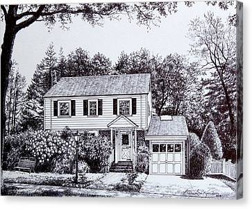Massachusetts House Drawing Canvas Print by Hanne Lore Koehler