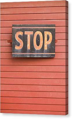 Massachusetts, North Adams, Stop Sign Canvas Print