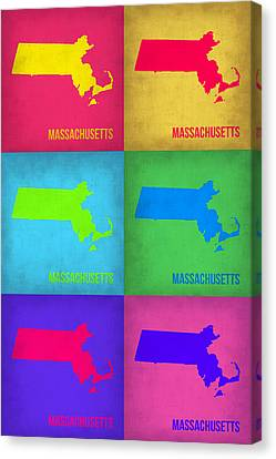 Massachusetts Pop Art Map 1 Canvas Print by Naxart Studio