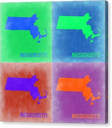 Massachusetts Pop Art Map 2 Canvas Print by Naxart Studio