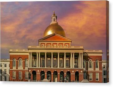 Massachusetts State House Canvas Print by Susan Candelario