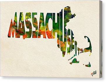 Massachusetts Typographic Watercolor Map Canvas Print by Ayse Deniz
