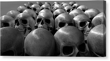 Creepy Canvas Print - Massacre Of Skulls by Allan Swart