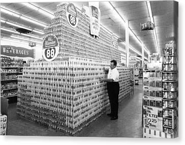 Grocery Store Canvas Print - Massive Beer Display by Retro Images Archive