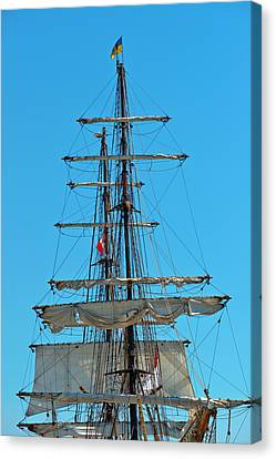 Canvas Print featuring the photograph Mast And Ropes by Marek Poplawski