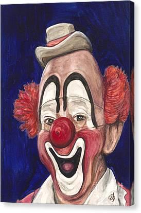 Watercolor Clown #3 Lou Jacobs Canvas Print by Patty Vicknair