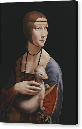 Master Copy Of Da Vinci Lady With An Ermine Canvas Print by Terry Guyer