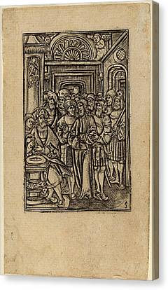 Master S Flemish, Active 1505-1520, Pilate Washing His Hands Canvas Print