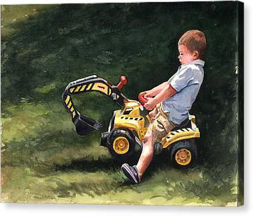 Mastering The Backhoe Canvas Print by Terri  Meyer