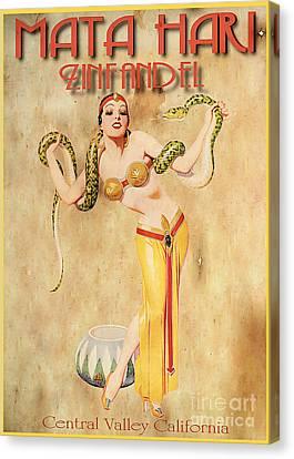 Mata Hari Vintage Wine Ad Canvas Print by Cinema Photography
