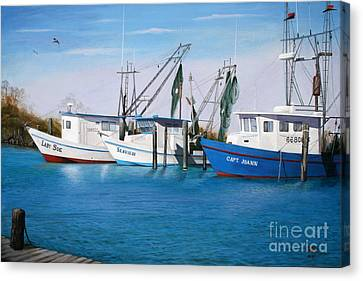 Canvas Print featuring the painting Matagorda Boats by Jimmie Bartlett