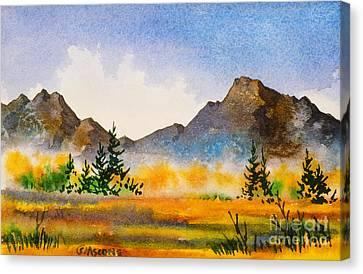 Canvas Print featuring the painting Matanuska Autumn by Teresa Ascone