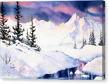 Canvas Print featuring the painting Matanuska Sunset Impression by Teresa Ascone