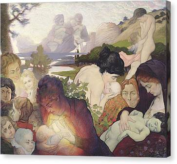 Caring Mother Canvas Print - Maternity by Charles Maurin