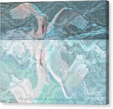 Mating Dance Of The Swan Canvas Print by PainterArtist FIN