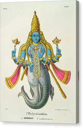 Matsyavatara Or Matsya, From Linde Canvas Print by A. Geringer